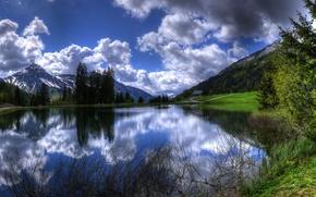 french alps alpes, france, Альпы, горы, озеро, деревья, отражение, пейзаж