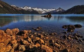 lake, Mountains, coast