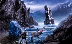 романтика апокалипсиса, льды, льдины, лед, животное, олень, человек, озеро, копье