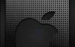 apple, metal, gray, chrome, logo, grating, cell, holes, Hi-Tech