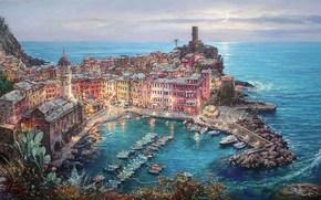 pittura, Mediterraneo, Vernazza, Italia, ormeggio, Barche, citt, casa, cattedrale, chiaro di luna