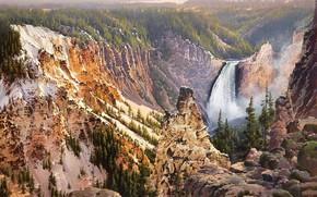 живопись, природа, желтые горы, гора, водопад
