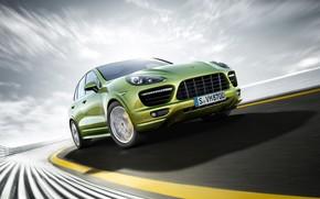 camionetta, strada, velocit, verde, Porsche