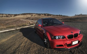 BMW, red, front view, day, light, roof, hatch, bmw