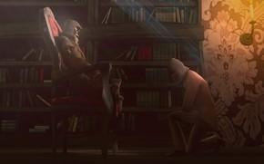 Asesinos, El concepto de arte, biblioteca, Libros, silla, luz, vela