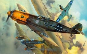 самолеты, немецкие, британские, воздушные бои, Вторая мировая война