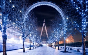 london eye, The London Eye, London, London, England, United Kingdom, Ferris Wheel, evening, night, lighting, Track, Trees, garland