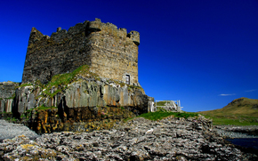 mingarry castle, замок, руины, башня, камни, мох