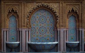 casablanca, marocco, Марокко, мозаика, арки, архитектура, узор, резьба, фонтан