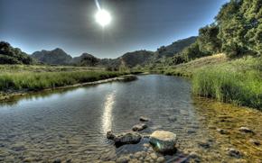 горы, река, пейзаж, камни