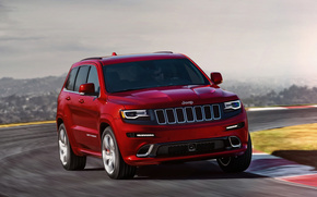 Jeep, grand cherokee, SRT, SUV, red, cars, machinery, Car