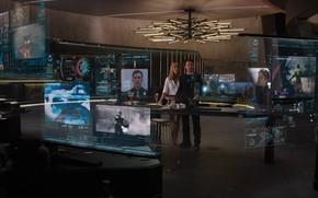 The Avengers, Marvel, man of iron, Tony Stark, Robert Downey Jr., Gwyneth Paltrow, Pepper Potts, office, building, Screens, hologram, information, dossier