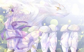 Art, anime, Natsume Book of Friends, guy, youkai, Horn, nyako-sensei, daemon
