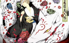 Art, anime, Natsume book of friendship, guy, daemon, people, youkai, nyako-sensei, Horn, Flowers, Petals, kimono