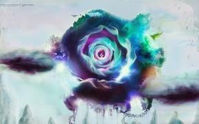 Creativity, flower, Petals, bird, tree, doe, emblem, radiance