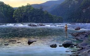 pittura, natura, fiume di montagna, Montagne, alberi, I pittoreschi dintorni, pescatore