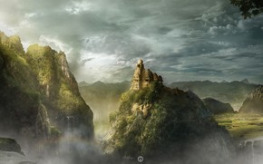 building, dome, hill, clouds, waterfalls, Lost Kingdom