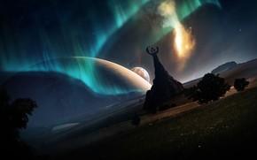 Planeta, emblema, roca, Los rboles, hierba, luces del norte