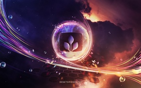 emblem, line, motion, Bubbles, clouds, design, glow, radiance