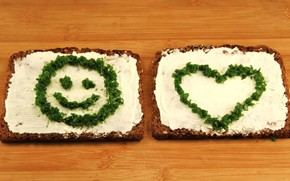 Sandwiches, bread, oil, greens, smiley, heart