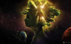космос, планета, девушка, слёзы, крона, зелень, профиль