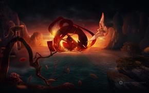 emblema, fuoco, uccello, bertuccia, mare, fogliame, tramonto