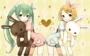Art, Vocaloid, girls, toy, hare, heart