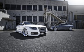 Ауди, белый, серебристый, диски, здание, окна, пожарная лестница, Audi