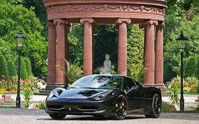 феррари, италия, чёрный, передок, отражение, фонари, колоны, Ferrari