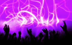 audiencia, manos, Msica, concierto