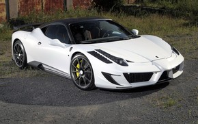 феррари, италия, сиракуза, белый, вид  спереди, грунтовка, тень, трава, Ferrari