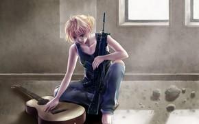 guy, loneliness, weapon, guitar, window, sunlight, Vocaloid