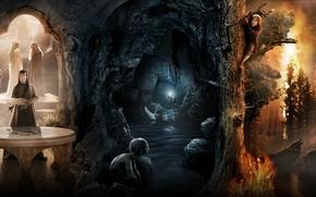 Hobbit, un viaggio inaspettato, collage, Gandalf il Grigio, Il Signore degli Anelli, Bilbo, Hobbit, Gollum, Elfi, grotta, albero, fuoco, foresta, Lupi