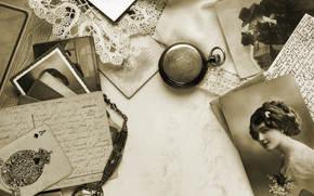 винтаж, ретро, сепия, фон, фотографии, карта, туз, часы, кружево, открытки