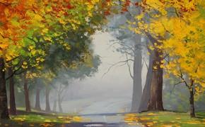 Art, landscape, autumn, Trees, leaves, yellow, road, asphalt