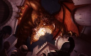 арт, дракон, нападение, атака, замок, войны, люди, ярость, пасть