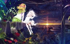 Girls, Roof, evening, sunset, snow, Flowers, ladybird, Winter, summer, personifications