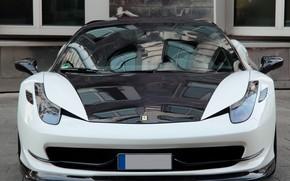 вид спереди, черно-белая, феррари, тюнинг, Ferrari