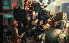 Art, robot, girl, filling, muzhik, machinery, turn