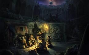арт, ночь, привал, костер, фэнтези, руины, факел, повозка