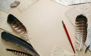 винтаж, перья, письма, бумага