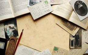 винтаж, книга, письма. фотография, сепия, брусок