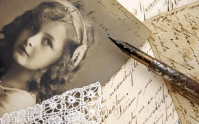 винтаж, девочка, фотография, сепия, письма, строки