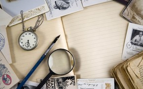 винтаж, лупа, часы, тетрадь, книга, открытки
