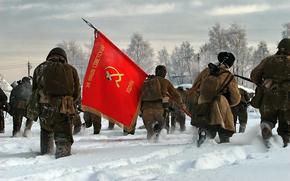 soldati, attrezzatura, rosso, bandiera, bandiera, inverno, neve
