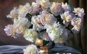 picture, still life, Flowers, Peonies, White, bouquet, vase, Petals, tissue