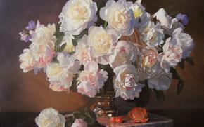 картина, натюрморт, цветы, фрукты, пионы, букет, ваза, апельсин, черешня