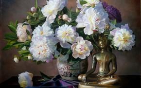 immagine, natura morta, fiori, mazzo di fiori, Peonie, vaso, Petali, figurina, Budda