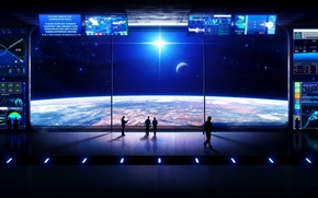 future, space, view, planet, land, star, radiance, people, station, window, Monitor