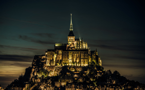 Francia, Normandia, Mont Saint-Michel, isola, castello, Francia, Normandia, Mont-Saint-Michel, isola, castello, fortezza, sera, lgni, luce, david w.photography